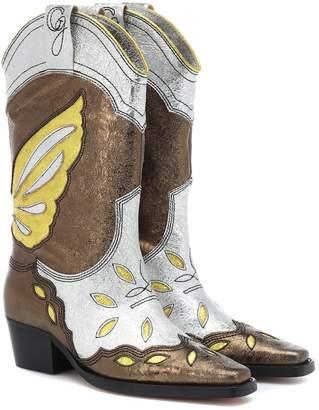 c48c9e47832e Ganni High Texas metallic leather boots