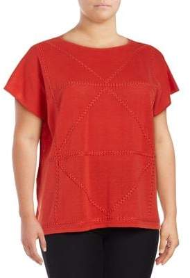 Joan Vass Braided Cap-Sleeve Top
