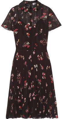 REDValentino - Embellished Floral-print Chiffon Dress - Black $1,295 thestylecure.com