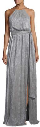 Halston Sleeveless High-Neck Textured Metallic Gown w/ Sash