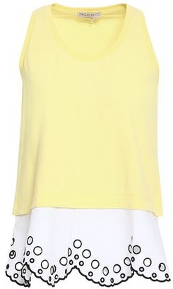 Emilio Pucci Scalloped Layered Cotton-poplin And Jersey Tank
