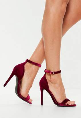 Missguided Two Strap Velvet Barely There Heel