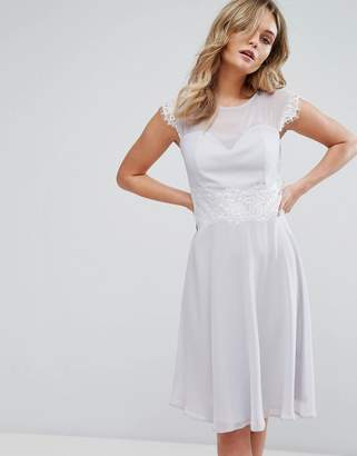 Elise Ryan Midi Skater Dress With Eyelash Lace Trim