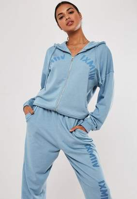 Missguided Blue Graphic Zip Front Hoodie