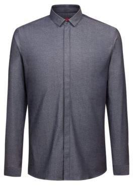 dc85789f3 HUGO Boss Extra-slim-fit shirt in cotton jacquard concealed placket 16 Black