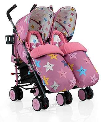 Cosatto Supa Dupa Double/Twin Stroller, Suitable from Birth, Happy Stars