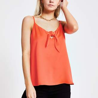 River Island Womens Petite Orange bow front cami top