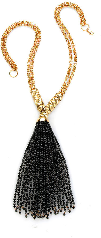 Nicole Romano Tassel Necklace, Black Onyx
