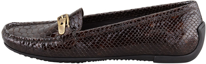 Stuart Weitzman Running Crystal Snake-Embossed Patent Moccasin, Fudge