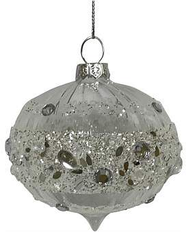 clear Christmas Shop Orn-Bauble Glass Jewelled