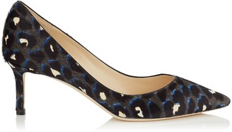 Jimmy Choo ROMY 60 Pop Blue Mix Leopard Print Pony Pointed Toe Pumps