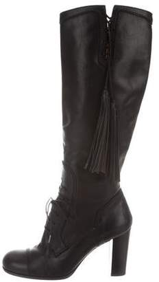 Dolce & Gabbana Leather Lace-Up Knee-High Boots