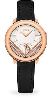 b20de5d01ef4 Fendi Run Away Rose Goldtone Stainless Steel  Diamond Leather-Strap Watch
