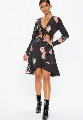 Missguided Black Tie Front Floral Ruffle Dress