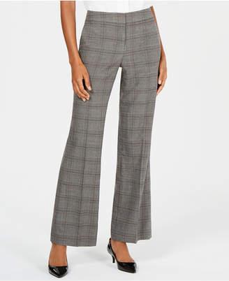 Nine West Plaid Wide-Leg Trousers