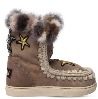 Mou Mini Eskimo Fur & Patch Shearling Boots