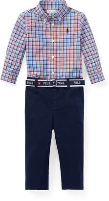 Ralph Lauren Plaid Button-Down Shirt w/ Woven Chinos, Size 6-24 Months