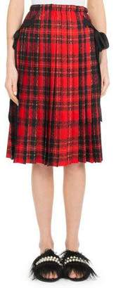 Simone Rocha Pleated Plaid Knee-Length Skirt w/ Bow Details