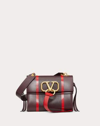 Valentino Garavani Small Vring Shoulder Bag With Inlaid Stripes Women Maroon 100% Pelle Di Vitello - Bos Taurus OneSize