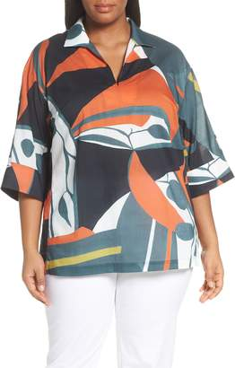 Lafayette 148 New York Nicole Artisan Abstract Print Top