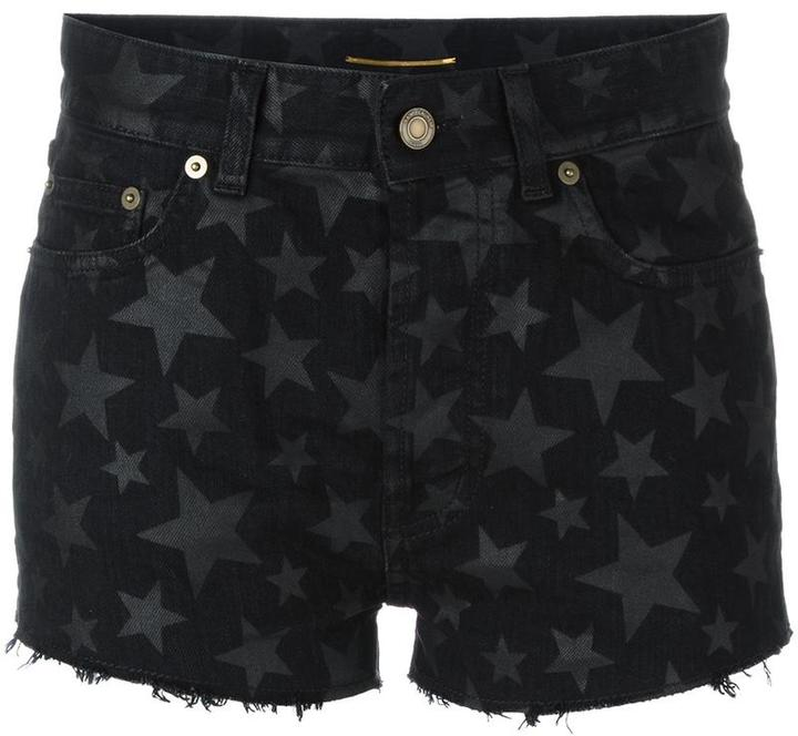 Saint LaurentSaint Laurent star print denim shorts