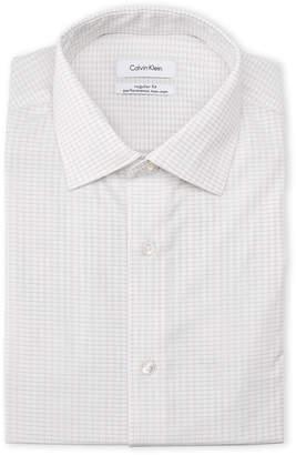 Kenneth Cole Reaction Grid-Print Performance Regular Fit Dress Shirt