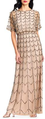 Adrianna Papell Chevron-Beaded Flutter-Sleeve Gown