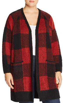 Lucky Brand Plus Textured Buffalo Check Cardigan