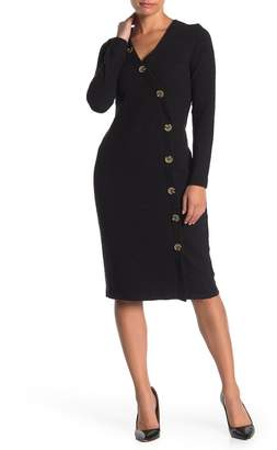 Spense Fitted Long Sleeve Button Front Midi Dress