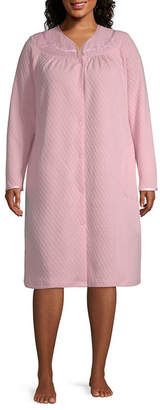 Adonna Woven Long Sleeve Quilted Nightgown-Plus