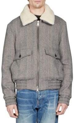 Ami Shearling-Trim Wool-Blend Bomber Jacket