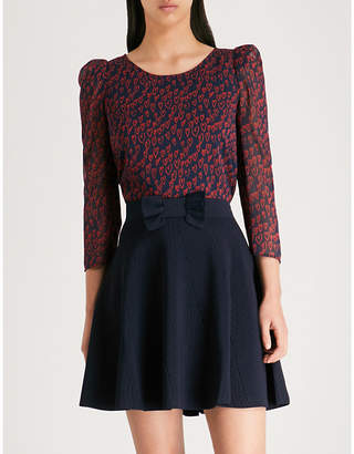 Claudie Pierlot Heart-print bow-back crepe top