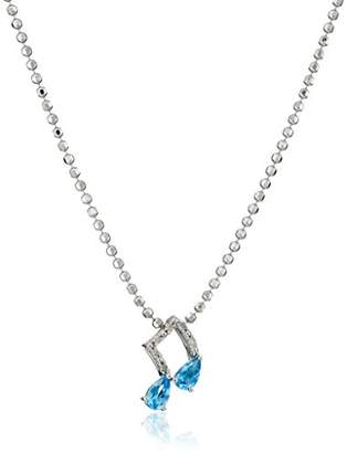 Sterling Silver Sky Blue Topaz and Diamond Musical Note Pendant Necklace