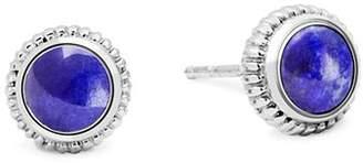 Shinola Sterling Silver Lapis Coin Edge Stud Earrings