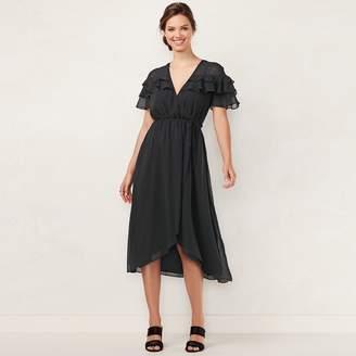 Lauren Conrad Women's Ruffle Faux-Wrap Midi Dress