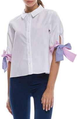 ENGLISH FACTORY Button-Down Shirt w/ Tie Cuffs