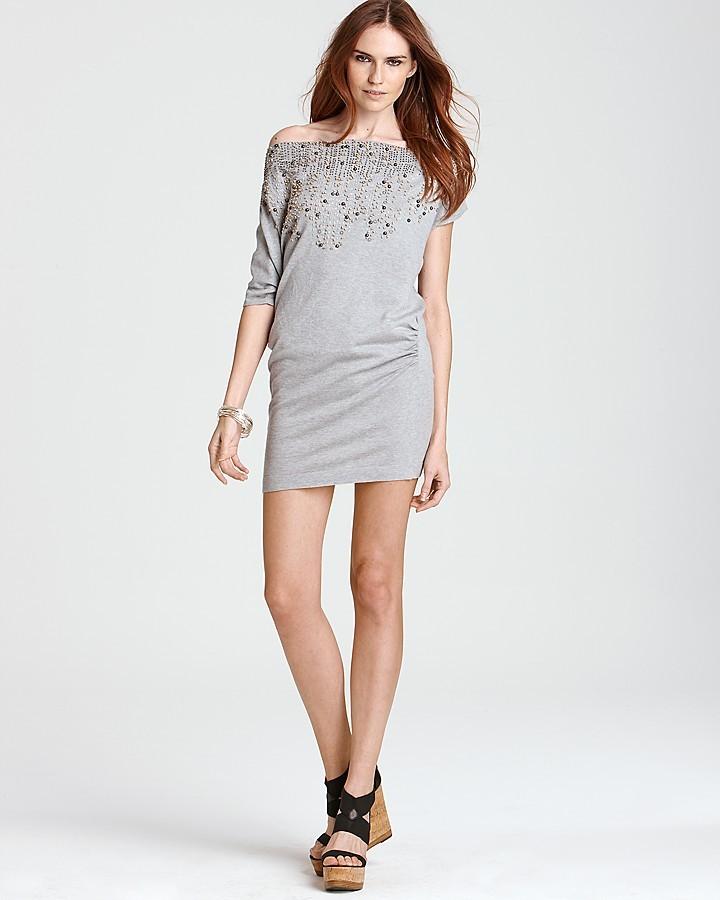 Nanette Lepore Short Sleeve Embelleshed Come True Dress