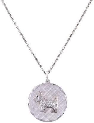 14K Diamond & Sapphire Dog Medallion Pendant Necklace