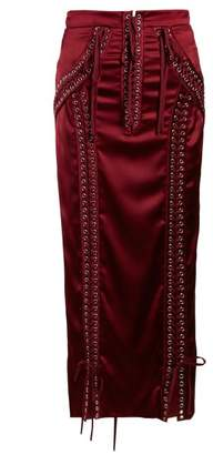 Dolce & Gabbana Lace Up Satin Midi Skirt - Womens - Burgundy