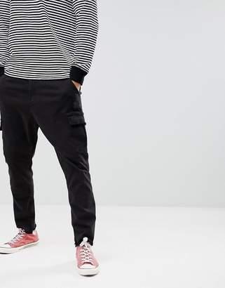 Bershka Frayed Hem Cargo Pants In Black