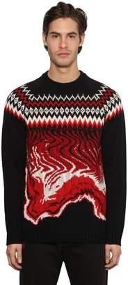 MSGM Crewneck Wool Jacquard Knit Sweater