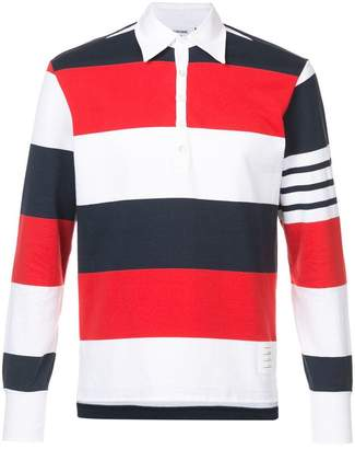 Thom Browne LS Polo In Rugby Stripe W/ Engineered 4-Bar