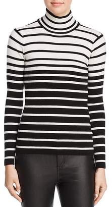 Minnie Rose Striped Rib-Knit Turtleneck Sweater