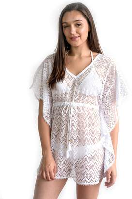 Miken Juniors' Double-V Crochet Kaftan Cover Up