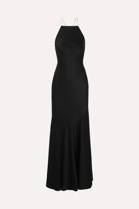 Rachel Zoe Jaclyn Crystal-embellished Hammered-satin Gown - Black