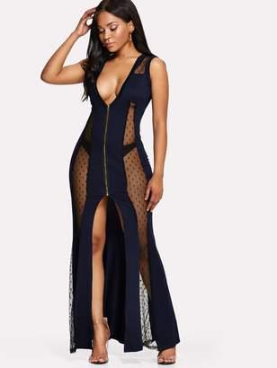 77c1097e2a Shein Dobby Mesh Yoke Split Maxi Dress