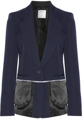 DKNY - Satin-trimmed Wool-twill Blazer - Midnight blue $810 thestylecure.com