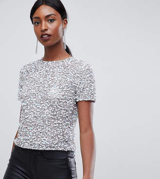 Asos Tall DESIGN Tall t-shirt with sequin embellishment
