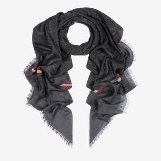 Bally Edelweiss Jacquard Stole Black, Men's wool and cotton blend scarf in multi-black