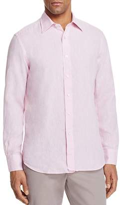 Canali Solid Linen Regular Fit Button-Down Shirt